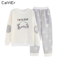 Caiyier Female Pajama Winter Pajamas For Women Flannel Pyjama Thick Warm Nightwear Cotton Pajamas Set Sleepwear Flamingo AN01