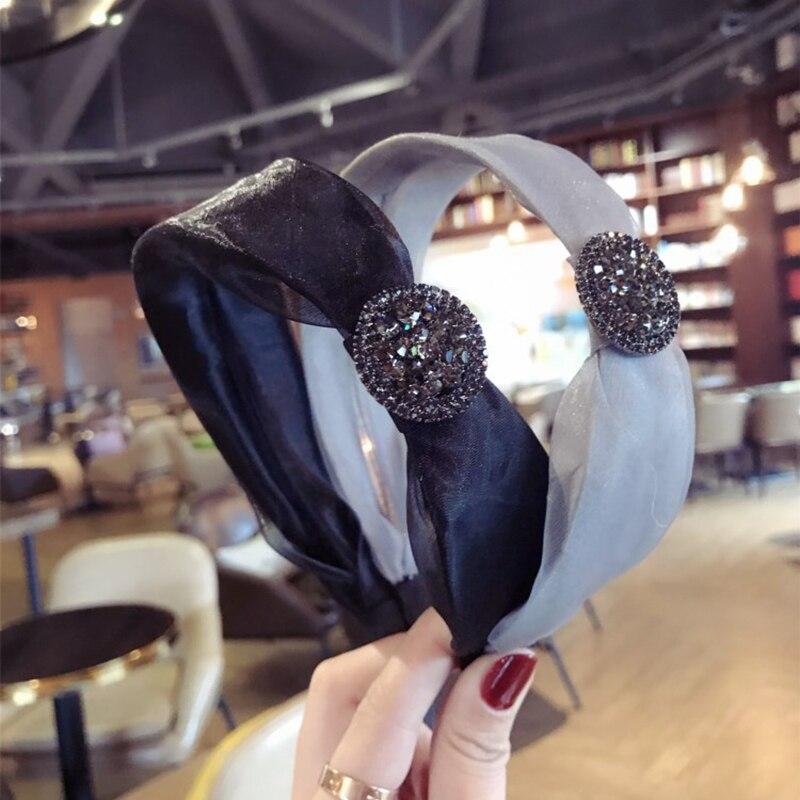 New High-grade Bud Silk Headbands Gauze Cloth Drill Ultra Flash Hairbands Hair Hoop Fashion Hair Ornaments For Women Headdress