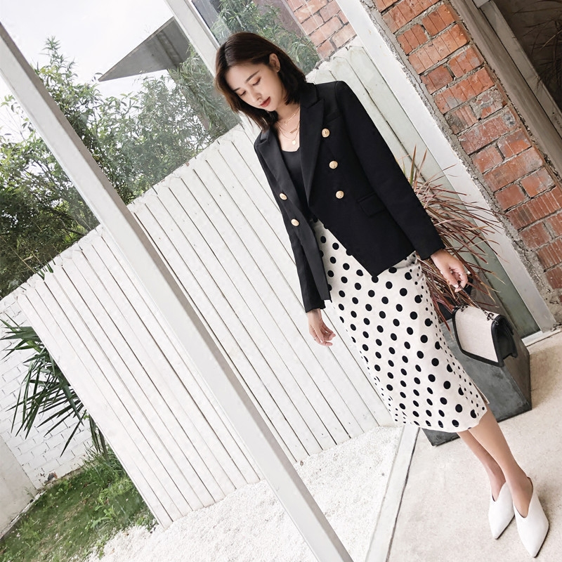 spring autumn female metal button Blazer suit jacket woman double-breasted suit jacket female short casual long-sleeved suit