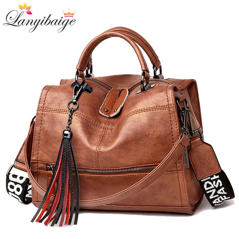 Retro Women Handbags Wide Shoulder Strap High Quality Leather Ladies Shoulder Bags Brand Tassel Luxury Women Crossbody Bags