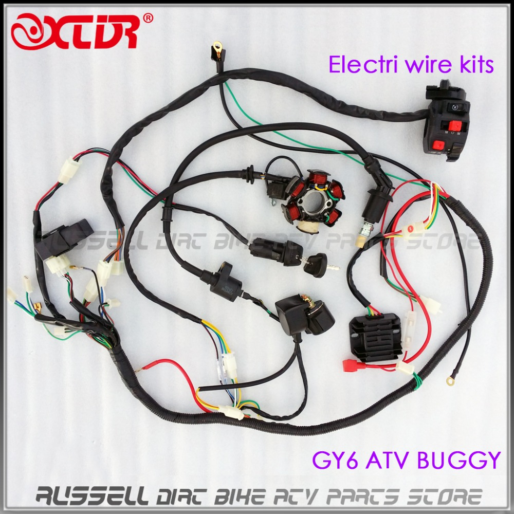 Full Electrics Wiring Harness Cdi Ignition Coil Rectifier Switch Atv Connector Box Magneto Stator 150cc Gy6 Engine Quad Bike Buggy Go