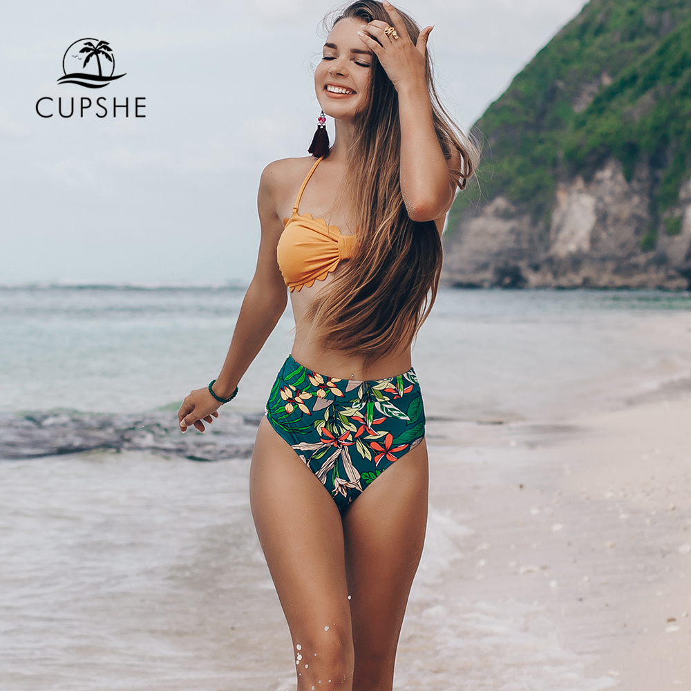 6b9b7872c813 CUPSHE Yellow And Floral Tropical Print High Waisted Bikini Sets 2019 Women  Heart Neck Halter Two Pieces Swimsuits-in Bikinis Set from Sports ...