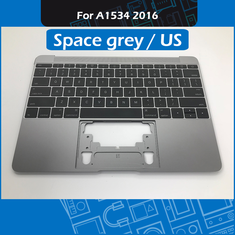 Space Grey 613-02547-A A1534 Topcase Palmrest for Macbook Retina 12 Palm rest Top Case with US Keyboard 2016 MLHA2 MLHC2 image