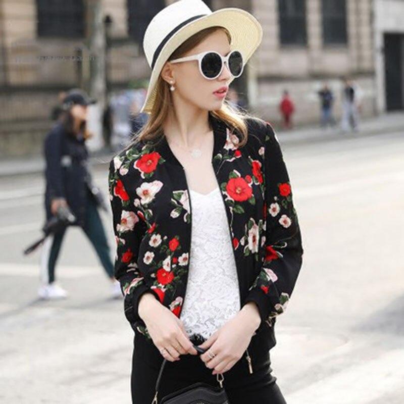 2017 Primavera Impresión de la Flor Mujeres Bomber Bomber Jacket Coat Chaquetas
