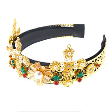 Bridal Flower Crown Diamond Hairband Gem Gemstone Baroque Headband Ladies Jewelled Hair Accessories Luxury Wedding Pearl Band