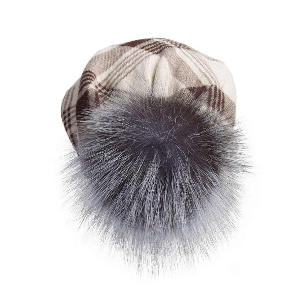 e17ba73d7eb92 Oversized cashmere slouchy beanie hat with puff real fur pompom for women  winter warm plaid print bobble hat 17603d