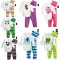 Милые Животные 3-х частей Baby Boy Девушка Одежда Детская Одежда Набор Длинные рукав Новорожденного Боди + Брюки + Колпак детский Костюм Младенческой