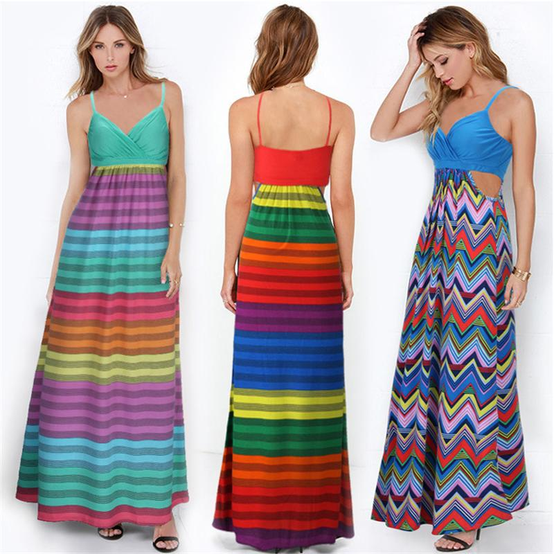 c14921a5154 2016 Sexy Women Holiday Casual Spaghetti Strap Striped Summer Beach Party Long  Dress big yards