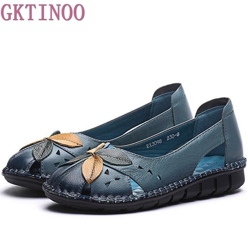цена  Summer Women Shoes Woman Genuine Leather Breathable Soft Flower Flat Sandals Fashion Women Sandals  онлайн в 2017 году