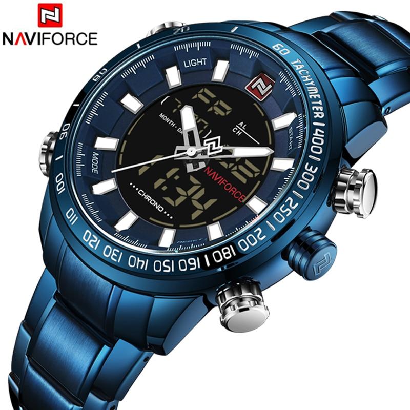 NAVIFORCE Top Brand Luxury Mens Watch Digital Sport Wristwatches Quartz Clock Blue stainless steel Military Relogio Masculino