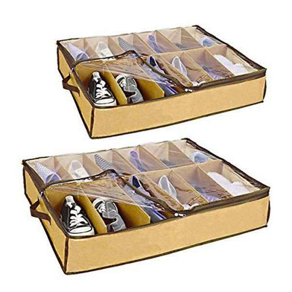 2x Underbed Shoe Store Organiser - 12 Pairs ...