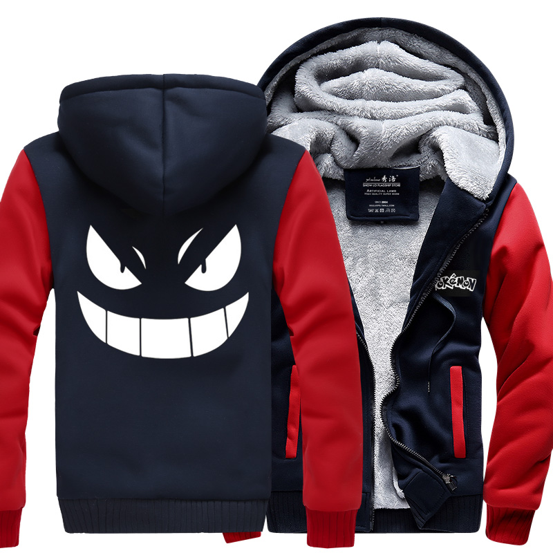 Pocket GO New Winter Jackets and Coats Pocket Monster hoodie Gengar Pokemon Hooded Thick Zipper Men cardigan Sweatshirts cosplay