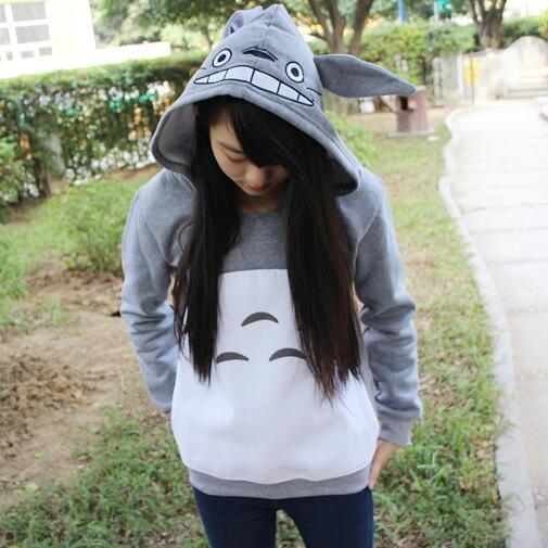New cute girls Totoro hoodies with ears style for women men hood pullovers gray cotton my neighbor sweatshirt anime cartoon tops