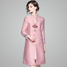 Trench Coat Chinese Style Cheongsam 2018 Autumn New Vintage Embroidered Long Tang Suit Windbreaker Female S-XXL