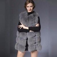 New Real Fur Vest Women Winter black Gray Fox fur Waistcoat natural Waistcoat 70CM natural Real fox Fur Vest Female women DHL
