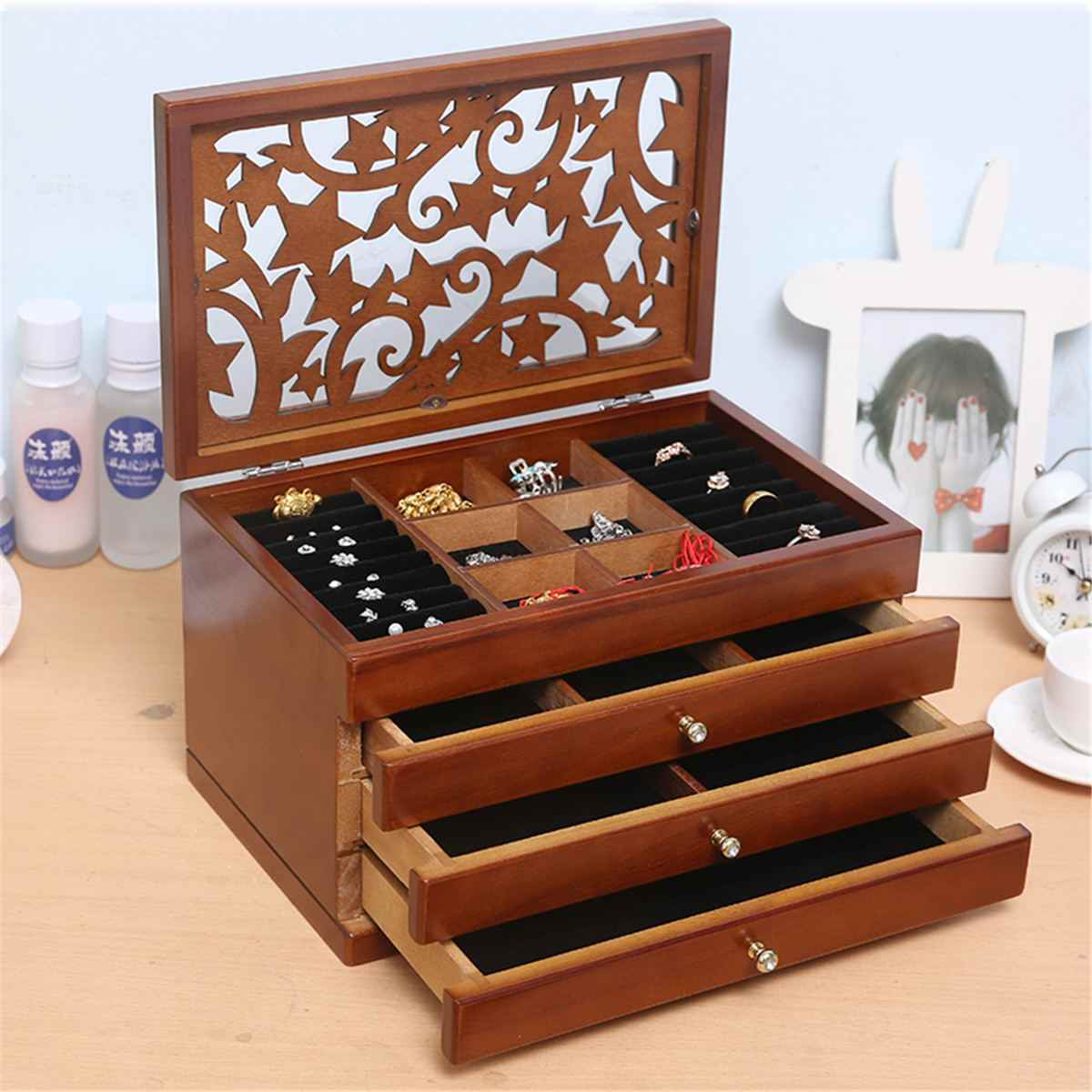 White/Brown Multi-Layer Big 6 floors Wooden Jewelry Box Jewelry Display Casket  Earrings Ring Boxes Jewelry Organizer Gift Box