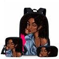 NOISYDESIGN 3 шт./компл.  школьные сумки для детей  черные художественные африканские школьные сумки с принтом для девочек  детские сумки на плечо  ...