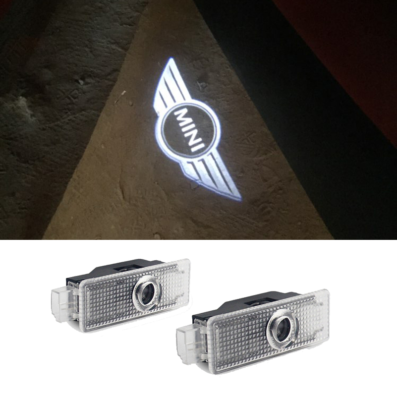 2pcs LED Logo Projector For Mini Cooper One S F56 R56 R60 JCW Countryman Clubman F55 R55 R57 R58 R59 R61 Car Door Welcome Light sun protection cool hat car logo for mini cooper s r53 r56 r60 f55 f56 r55 f60 clubman countryman roadster paceman car styling