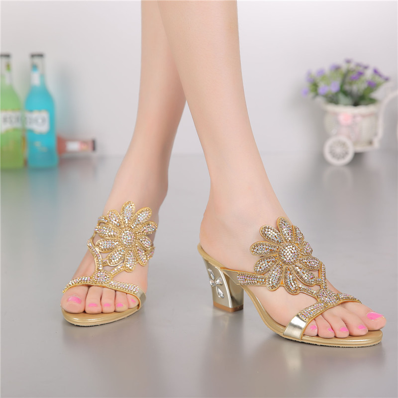 2018 Summer New Golden Korean Style Fashion Luxury Sandals Diamond Elegant Thick High Heel Sandal Shoes Women Slippers new summer sandal high heel women thick bottom female sandals casual shoes fashion leather sandal comfortable sweet cute woman
