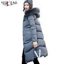 HIJKLNL 2017 Winter Women Coats and Jackets Letter Printed Long Thick Coat Hooded Fur Collar Padded Parka Mujer Plus Size NA402