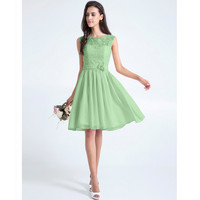 LAN TING BRIDE Lace Bridesmaid Dress A Line Scoop Neck Sleeveless Knee Length Wedding Party Dresses
