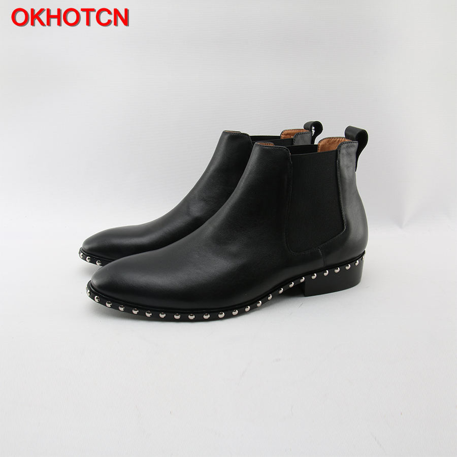 OKHOTCN Autumn Winter Men Boots Vintage Pointed Toe Chelsea Boots Kanye West Fashion Rivet British Style Leather Men Ankle Boots pointed toe men leather boots british style glitter men fashion boots zip mujer bota sequin red booties autumn military boots