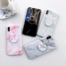 SUYACS Glossy Marble With Airbag Bracket Kickstand Case For iPhone XS MAX XR X 6 6S 7 8 Plus IMD Soft Phone Back Cover Case Bag