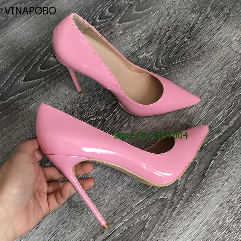 VINAPOBO Young Girl's Top Brand Pink Patent Leather High Heel Shoes Sweet Stylish Office Lady Daily Dress Wedding Shoes Shallow