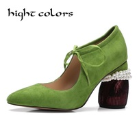 Green 2018 Spring New Matte Genuine Leather Women Pumps Sheepskin Pointed Shaped Pearl Lace Shallow Mouth