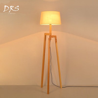 Wooden Floor Lamp Modern with foot switch Living Room Bedroom Study Floor Standing Lamps White Fabric wooden floor lights Decor