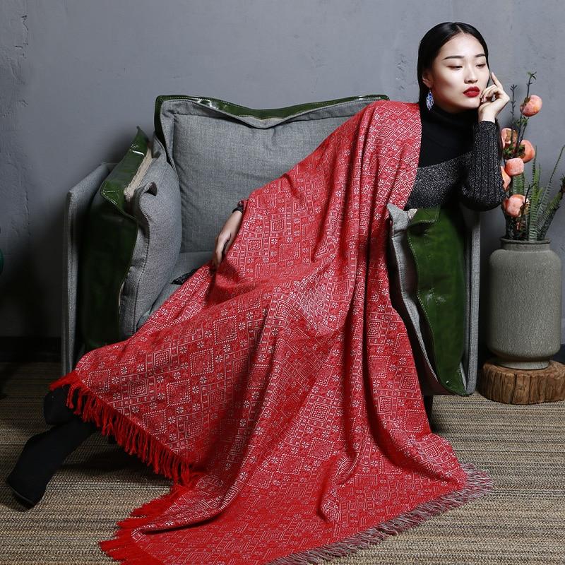 MENOGGA Sjaals en Wraps Grote Vierkante Sjaal 145*145cm Chinese Stijl Klassieke Patroon met Kwastje Warm Winter Sjaal deken