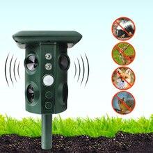 تعمل بالطاقة الشمسية طارد للحيوانات مقاوم للماء PIR الاستشعار في الهواء الطلق حديقة مكافحة القط الكلب USB بالموجات فوق الصوتية إنذار للطاقة الشمسية محرك مبيد