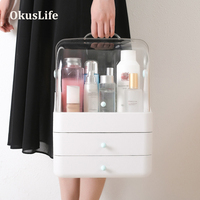 1 3 layers Portable Waterproof Make Up Cosmetic Box Dust Cover Organizer Drawers Plastic Storage Box Jewelry Container Indoor