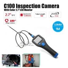 C100 Dia 3.9mm 2.7″ Endoscope Borescope Inspection 1M Snake Tube Camera Zoom Rotate