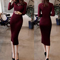 2017 New Winter Women Casual Warm Dress knitted one-piece dress fashion slim turtleneck sweater basic long women dress