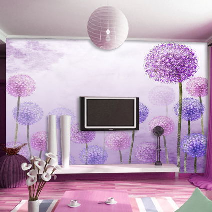 Free shipping dolly mural living room wallpaper purple tv for Purple living room wallpaper
