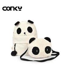 2016 женские парусиновые рюкзаки милый мультфильм панда школьные сумки для подростков девочек рюкзак Bagpack ранцы Mochila Feminina