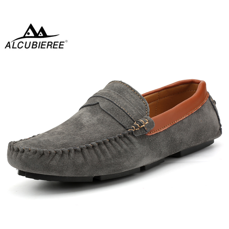 ALCUBIEREE Brand Italian Designer Loafers Suede Leather Moccasins Mens Casual Penny Loafers High Quality Handmade Boat Shoes Men casual high quality men s suede leather slip on loafers driving shoes fahion boat shoe mens handmade moccasins f40