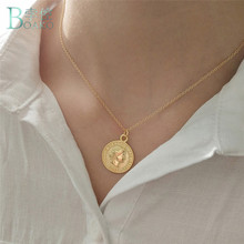 BOAKO New Body Coin Necklace Gold Chain Female Pendant Round Stainless Steel Brand Jewelry For Women collar mujer