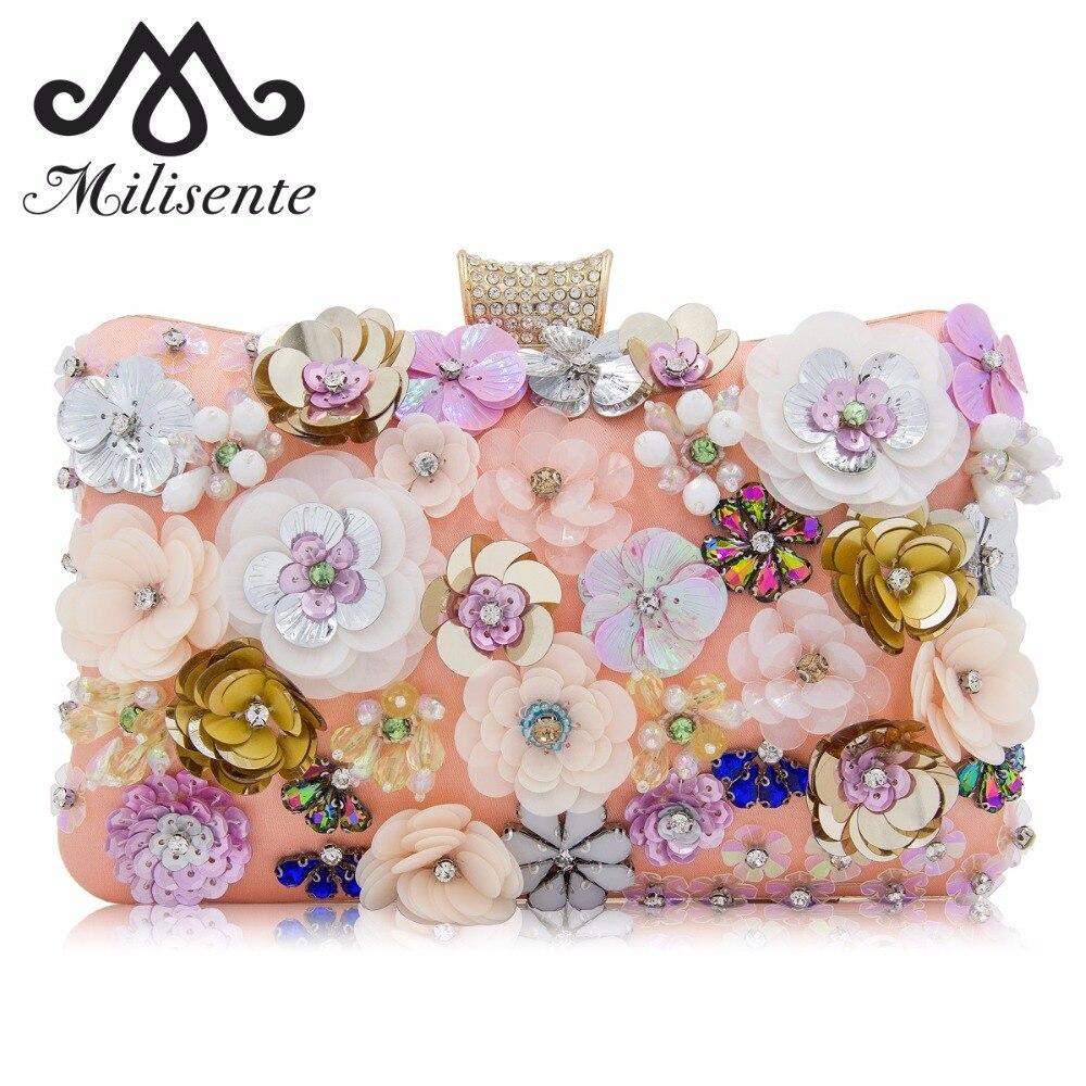Milisente Mufe Mufe Muștiucuri Crystal Hasp Sequin Flower Design - Genți