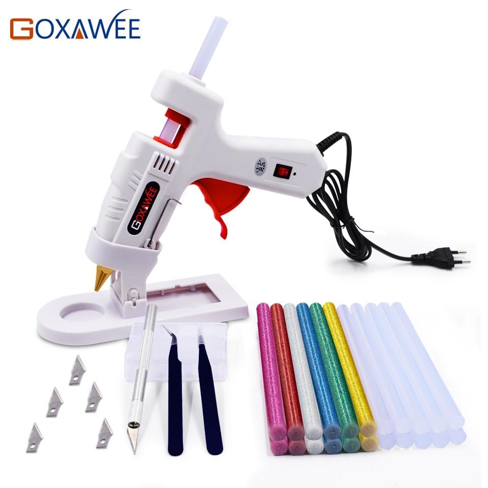 Goxawee Professional Hot Melt Glue Gun Set With 22pcs Hot Glue Gun Sticks Copper Nozzles And Stand Knives For DIY Repair Tools
