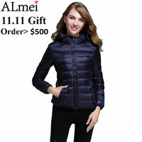 11.11 Promotion Gift Slim Short Coat Bio Down Jacket Winter Double Breasted Women's Duck Down Coat Size M-XXXL Color Blue Only