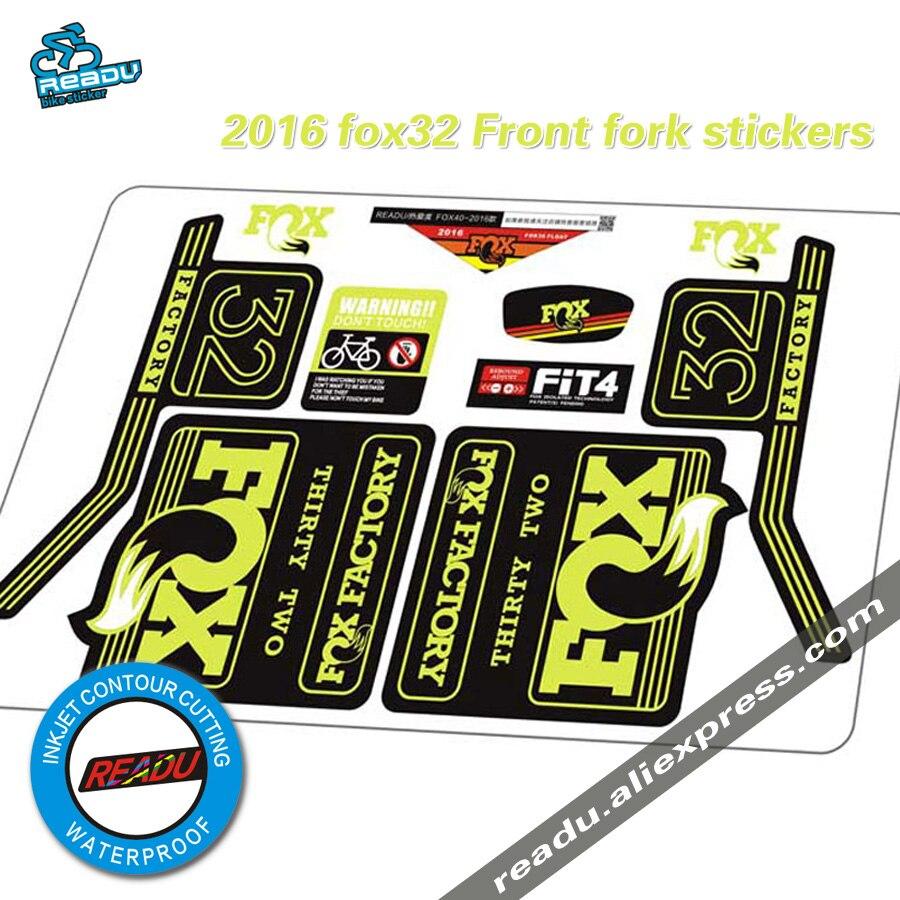 2016 fox32 fourche Avant autocollants renard Vélo vtt fourche Avant autocollants Vélo autocollants imperméables à l'eau vélo Fourche stickers