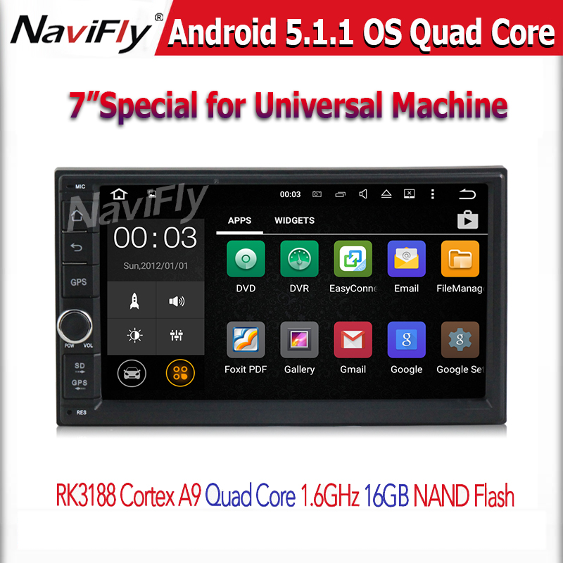 Free shipping Android 5.1.1 7'' Double 2Din Car Radio GPS Universal without dvd car Audio 2 din car Stereo auto Radio Quad core