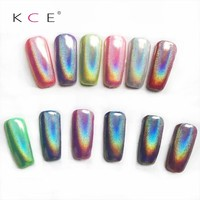 NEW 1g Box Holographic Laser Powder Nail Glitter Rainbow Pigment Manicure Chrome Pigments