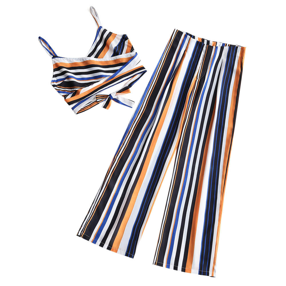 ZAFUL Beach Cover Ups Cross Front Stripe and Wide Cover Up for WOmen Flat High Waited Romper for Women multi stripe tie front wide leg jumpsuit