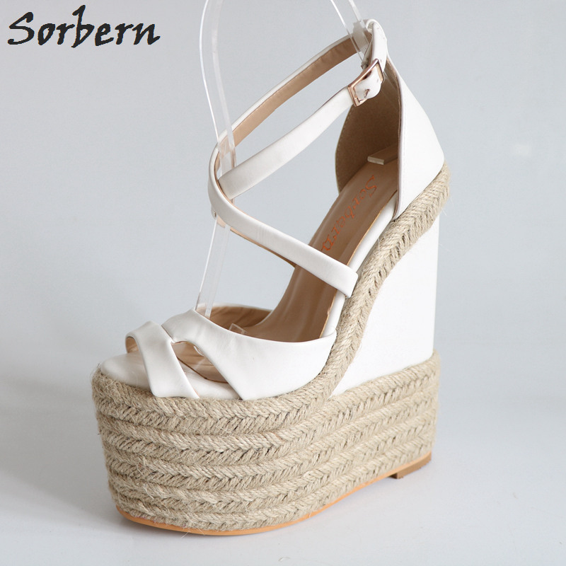 Sorbern Rope Wedge Heels 18Cm/7 High Heels Size 13 Shoes For Women Plus Size 34-46 Custom Open Toe Sandals 2018 New Arrivals plus size open front high low plaid waistcoat