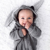 2017 Warm Newborn Infant Baby Girls Boys Clothes Cute Bunny Romper Baby Long Sleeve Jumpsuit Playsuit