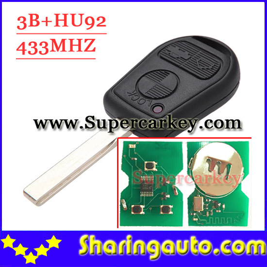 Free shipping(1piece)old model 3 button Remote Key with  HU92 Blade 433MHZ For Bmw With pcf7935 Chip free shipping 2 button remote key hu87 blade with id46 chip 433mhz for suzuki swift yy 1piece