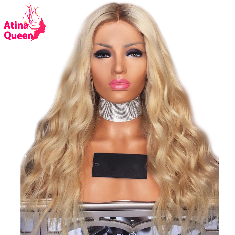 150 Density Ombre Blonde Lace Front Wig Body Wave Lace Front Human Hair Wigs Pre Plucked